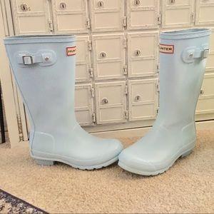 ☔️ Hunter Boots blue tall sky aqua rain boots 4 6